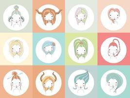 signos del horóscopo con chicas vector
