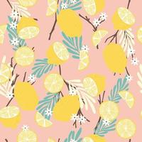 Fruit seamless pattern, lemons with branches, tropical leaves and flowers vector