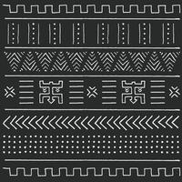 patrón étnico tribal blanco y negro con elementos geométricos