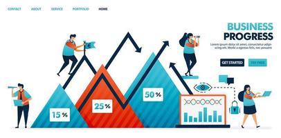 Informe del paso de avance en el plan de estrategia empresarial y empresarial. gráfico en los negocios. los beneficios de la empresa en un gráfico triangular. crecimiento y desarrollo de la empresa. Ilustración humana para sitio web, móvil, póster.