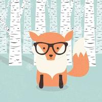 Merry Christmas postcard with hipster cute orange fox in the forest