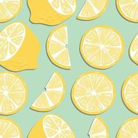 Fruit seamless pattern, lemon slices and halves on mint green background vector