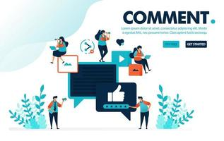 vector illustration comments thumb up. people give like and thumb up for comments and content. rating for video and image. designed for landing page, web, banner, mobile app, template, flyer, poster