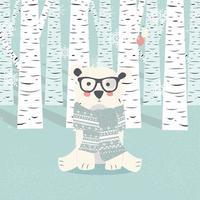 postal de feliz navidad con hipster oso blanco polar en el bosque vector