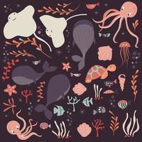 colección de coloridos animales marinos y oceánicos, ballenas, pulpos, mantarrayas vector