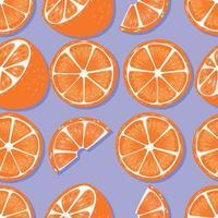 naranjas de patrones sin fisuras de frutas con sombra vector