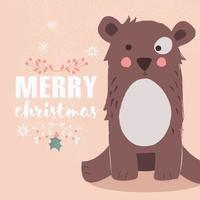 Cute brown bear on pink background and Merry Christmas lettering vector