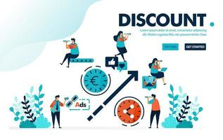 Vector illustration discount system. People share to get discount, marketing method with promotion and advertisement. Designed for landing page, web, banner, template, background, flyer, ui, poster