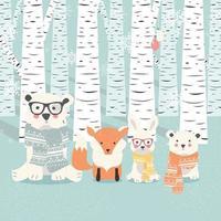 postal de feliz navidad con osos, zorros y conejos en el bosque vector