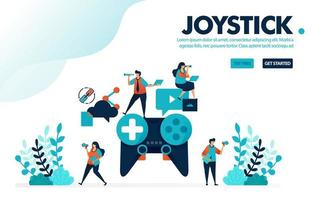 Vector illustration analog joystick. People playing games on giant joystick. Teamwork and collaboration in completing game. Designed for landing page, web, banner, template, background, flyer, poster