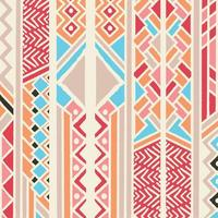 Tribal ethnic colorful bohemian pattern with geometric elements, African mud cloth vector