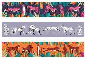 Collection of cute hand drawn cheetahs on horizontal background vector