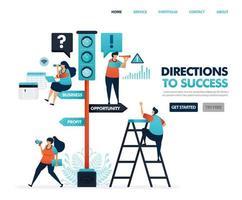 dirección para el éxito profesional y empresarial. señales de tráfico. advertencias e instrucciones. desarrollar negocios y ver señales de oportunidades de lucro. Ilustración para sitio web, aplicación móvil, póster.