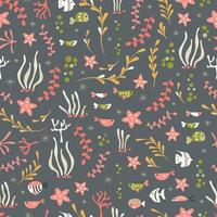 Seamless pattern with underwater ocean animals, cute fish and plants