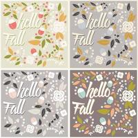 Set of autumn card design with floral frame and typography message vector