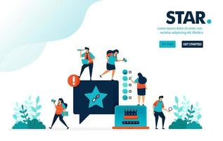 Vector illustration star satisfaction. People give star rank on comments. Social media user satisfaction level on services. Designed for landing page, web, banner, mobile, template, flyer, poster