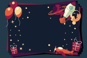 fondo con globos, regalos, cohetes y planetas.