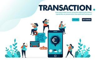 Vector illustration safe mobile banking. Transfers and bill payments with mobile cashless system. Safe payment with qr code. Designed for landing page, web, banner, template, background, flyer, poster