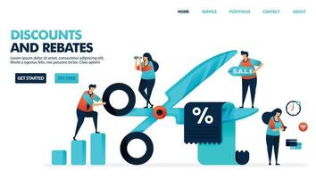 Discounts and rebates in shopping. Butts cut discount voucher. Bonus deduction for e-commerce purchase and service. Discount for payments and bills. Human illustration for website, mobile apps, poster vector