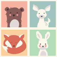 Collection of cute forest and polar animals