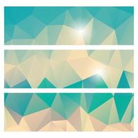 Abstract geometric colorful pattern banner set vector