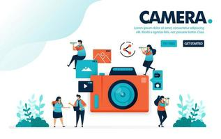 Vector illustration camera. People take picture with camera. Video and photo sharing on social media. Photography for posting. Designed for landing page, web, banner, mobile, template, flyer, poster