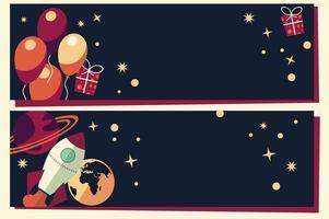 pancartas con globos, regalos, cohetes y planetas.