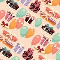 Birthday seamless background with presents and balloons vector