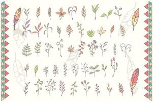 Collection of hand drawn flowers with feathers vector