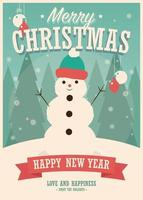 Merry Christmas card with snowman on winter background