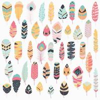 Collection of boho vintage tribal ethnic hand drawn colorful feathers