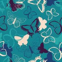 Seamless pattern with hand drawn colorful butterflies vector
