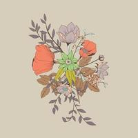 ramo de flores, decoración botánica y floral elemento dibujado a mano vector