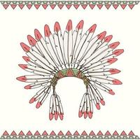 Hand drawn Native American Indigenous chief headdress vector