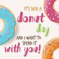Poster design with colorful glossy tasty donuts vector