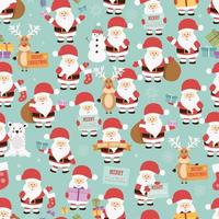Christmas seamless pattern with santa claus, reindeer, bear and gifts