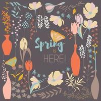diseño de tarjeta de primavera floral, con flores dibujadas a mano vector