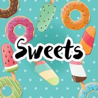 Poster design with colorful glossy tasty donuts and ice cream vector