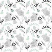 Seamless pattern with rabbits, lady bugs, birds and flowers vector