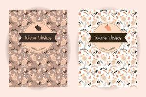 Retro invitation and greeting card set with seamless animal and flower pattern vector