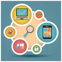 colección de iconos de diseño plano, computadoras y dispositivos móviles, computación en la nube, comunicación vector