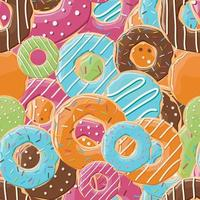 Seamless pattern with colorful tasty glossy donuts vector