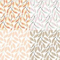 Collection of four seamless pattern designs with bohemian hand drawn feathers