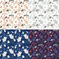 colección de cuatro patrones sin fisuras con conejos, mariquitas, pájaros y flores vector