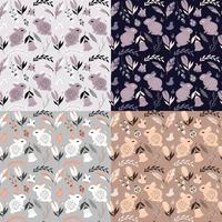 Collection of four seamless patterns with rabbits, lady bugs, birds and flowers vector