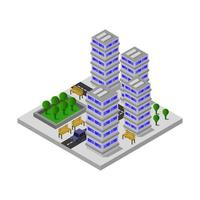 Isometric City Illustrated On White Background vector