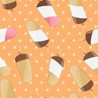 Ice cream seamless pattern, colorful summer background, delicious sweet treats vector