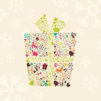 Ornamental Christmas gift box with reindeers, snowflakes and flowers vector
