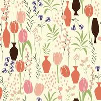 Vector seamless pattern with floral elements, spring flowers, tulips, lilies and vases