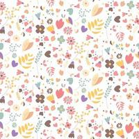 Bohemian hand drawn flowers, seamless pattern vector